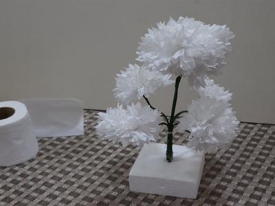 টিস্যু পেপার দিয়ে আকর্ষণীয় ফুল বানানো Turn Tissue Paper into White Flower - Very Easy  || ABC Craft