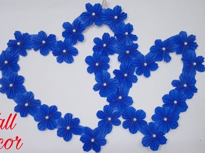 Wall hanging flower heart showpiece | #DIY Art and crafts