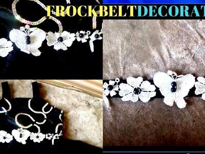 Designer belt.DIY BEAUTIFUL GOWN FROCK BELT DECORATION