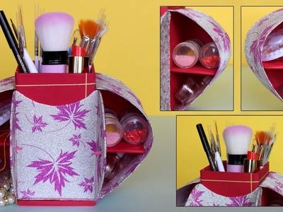 DIY Desk Organizer Box || DIY Makeup Organizer || Cardboard Cosmetic Box Making at Home