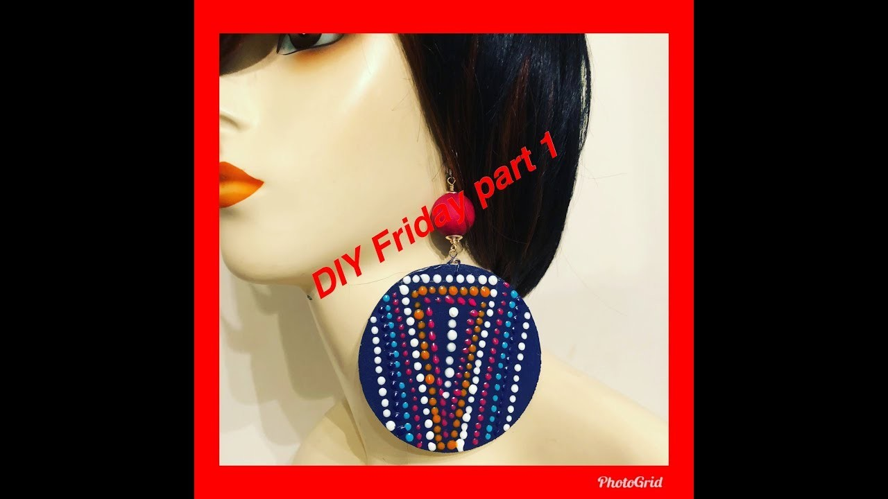 DIY FRIDAY Friday Hand painted wood earrings