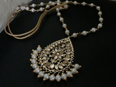 (DIY)HOW TO MAKE PARTY WEAR PEARL NECKLACE.HANDMADE JEWELLERY.HOORIYA STYLE.?