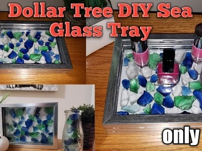 Dollar Tree DIY???? Sea Glass Tray???? Only $4 and Easy to make