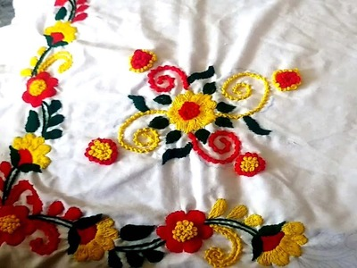 Hand Embroidery.romanian stitch.French Knot Stitch. Bed Sheet Design.Cushion Cover Stitch