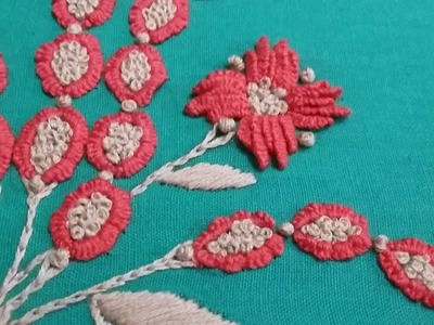 Hand embroidery using cast on stitch and french knots