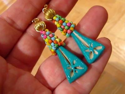 Handmade Clay & Glass Seed Beads & Brass Boho Earrings by DeeArtist, 2018