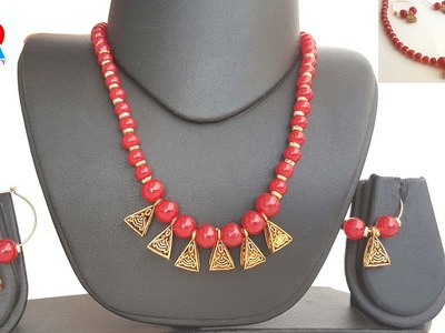How to make red beads mangalsutra tutorial. bridal jewelry making video