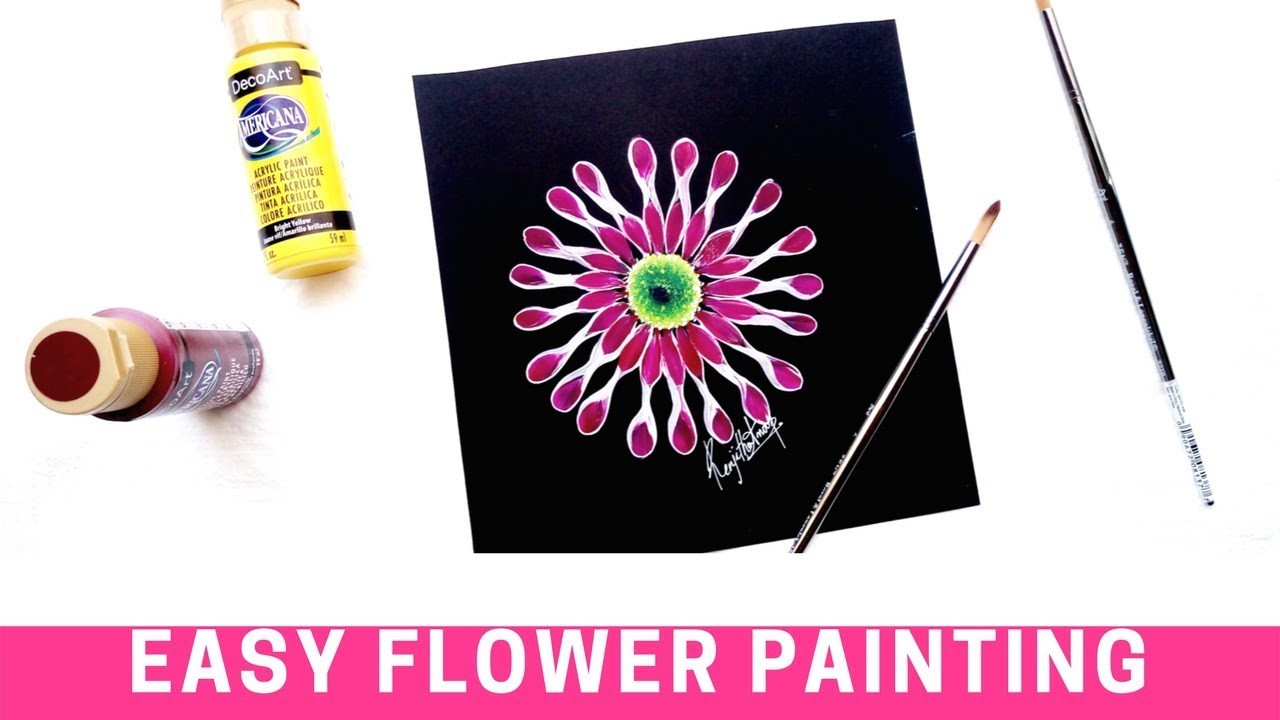 How to paint an African Daisy |  One stroke painting flower | DIY | Round brush painting