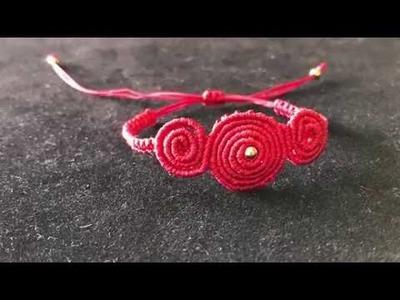 Macrame Tutorial: how to make macrame bracelet.red bracelet.step by step tutorial
