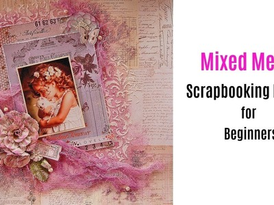 Mixed Media Scrapbooking Layout- Easy for Beginners-Spanish Subtitles- My Creative Scrapbook