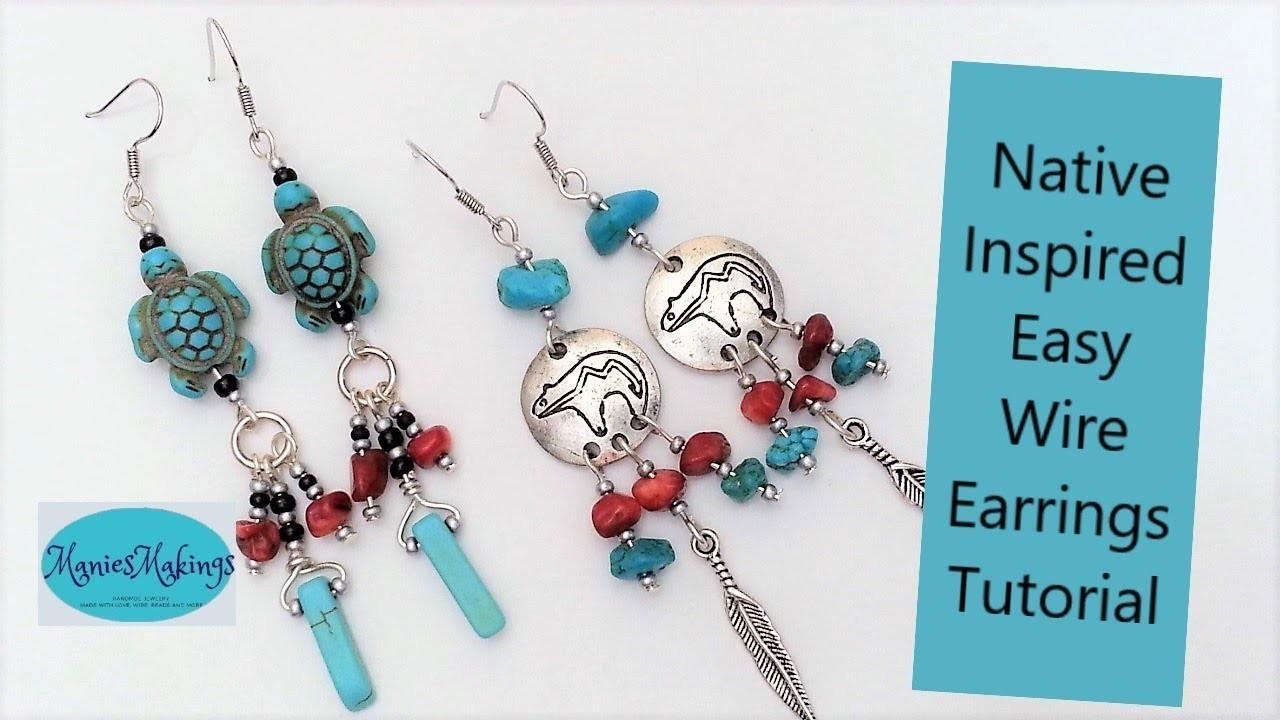 Native Inspired Easy Wire Earrings Tutorial