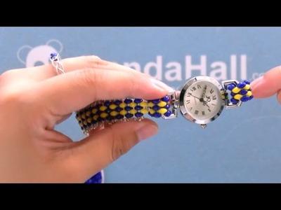PandaHall Tutorial on Making 2-hole Seed Beads Watch Bracelet