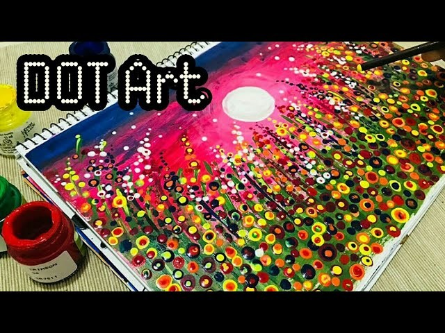 Abstract dot art  easy flower meadow painting  easy acrylic