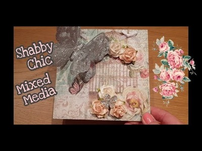 Basic Mixed Media Plaque using Decoupage and wild orchid craft flowers.