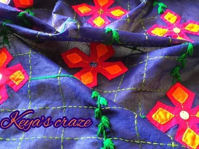 Creative applique hand embroidery on kurti. kameez   Creative Kurti applique hand embroidery   2018