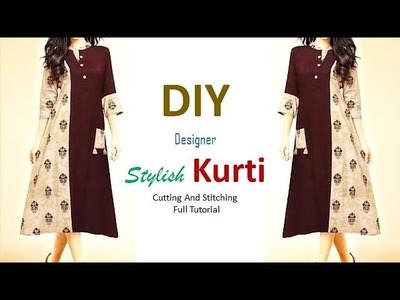 DIY Designer Stylish Kurti Cutting And Stitching Tutorial