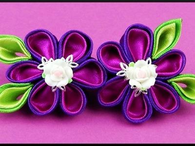 DIY Kanzashi | Blumen Rosen Haarspange | Flower roses barrette | Hair accessories