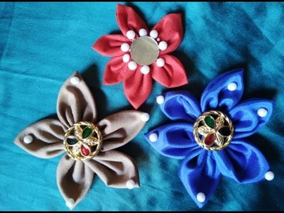 DIY:Six petal kanzashi fabric flowers hair clip
