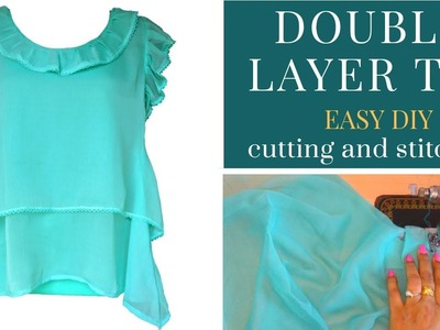 Double layer top, easy DIY | cutting and stitching