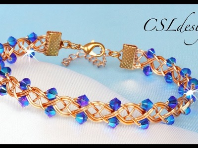 Embellished 4 strand braid wirework bracelet