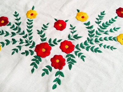 Hand Embroidery Design On Bed Seat In Hindi.