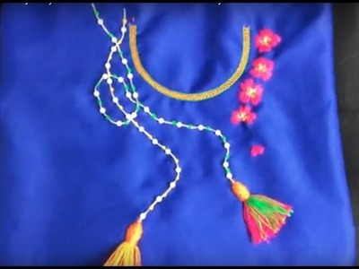 Hand embroidery easy stitch how to make Neck embroidery with tassels