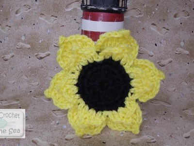 "How to Crochet a Sunflower Flower Applique Motif - FREE Written Pattern in the ""SHOW MORE"" Below!"
