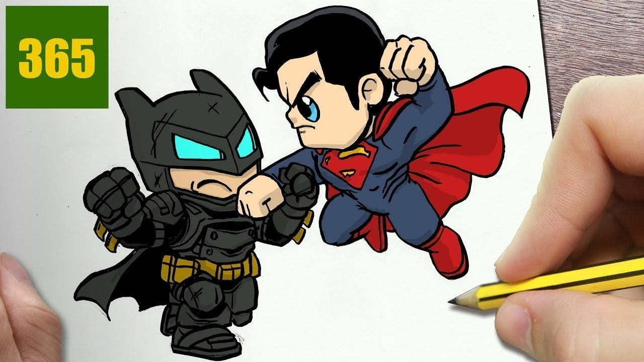 How To Draw A Batman Superman Cute Easy Step By Step Drawing