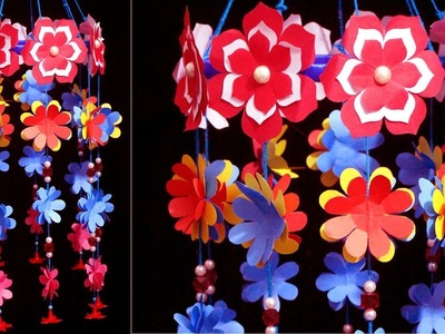 How to make handmade paper wind chime - Paper wind chimes craft - Paper Flowers handmade decoration