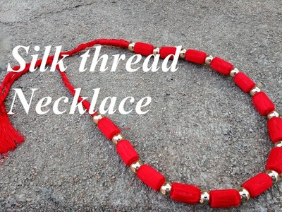 How to make silk thread necklace.Red silk thread necklace.Tutorial.DIY.Creation&you