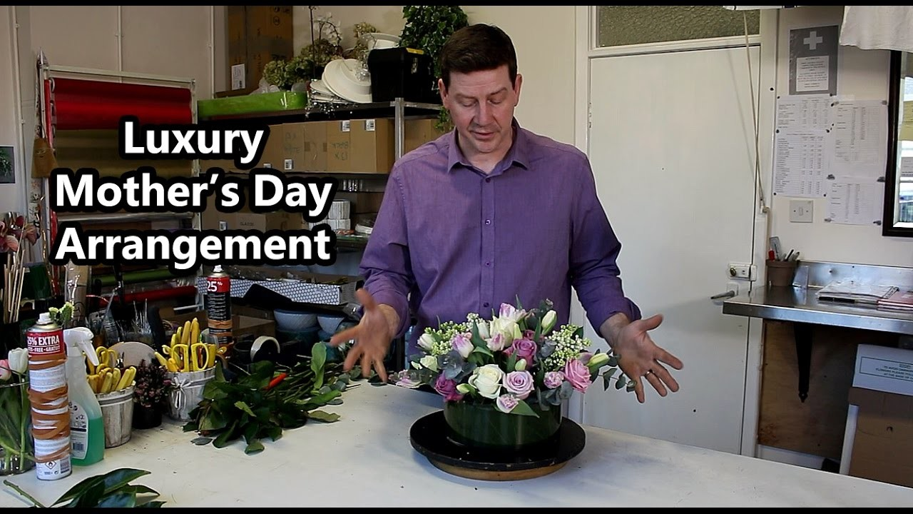 Luxury Mother's Day Arrangement - Roses, Tulips, Liliac Blossom -