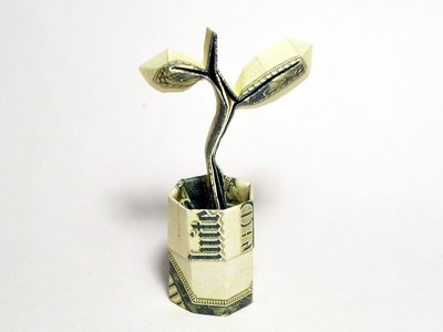 Money SPROUT in a POT Origami One Dollar Tutorial DIY Folded No glue and tape