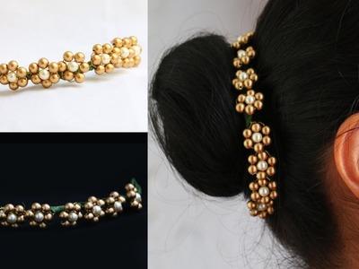 Pearls hair accessory. quick easy hair accessories. Diy hair brooch