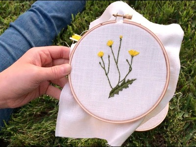 Sunset Stitch: Dainty Wild Dandelions Hand Embroidery in Nature (ASMR)