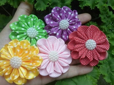 122) Tutorial Simple Kanzashi Flower
