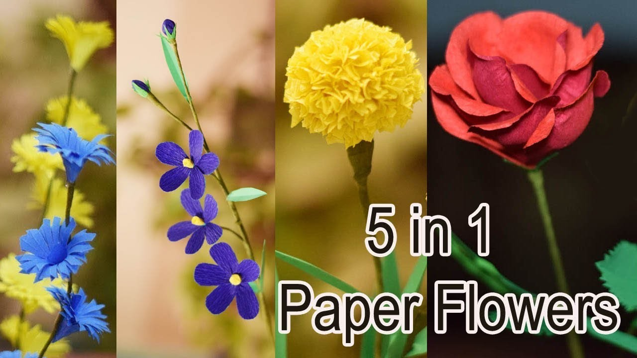 5 STUNNING DIY FLOWERS YOU CAN CREATE IN 5 MINUTES - Paper flowers making - Paper flower craft