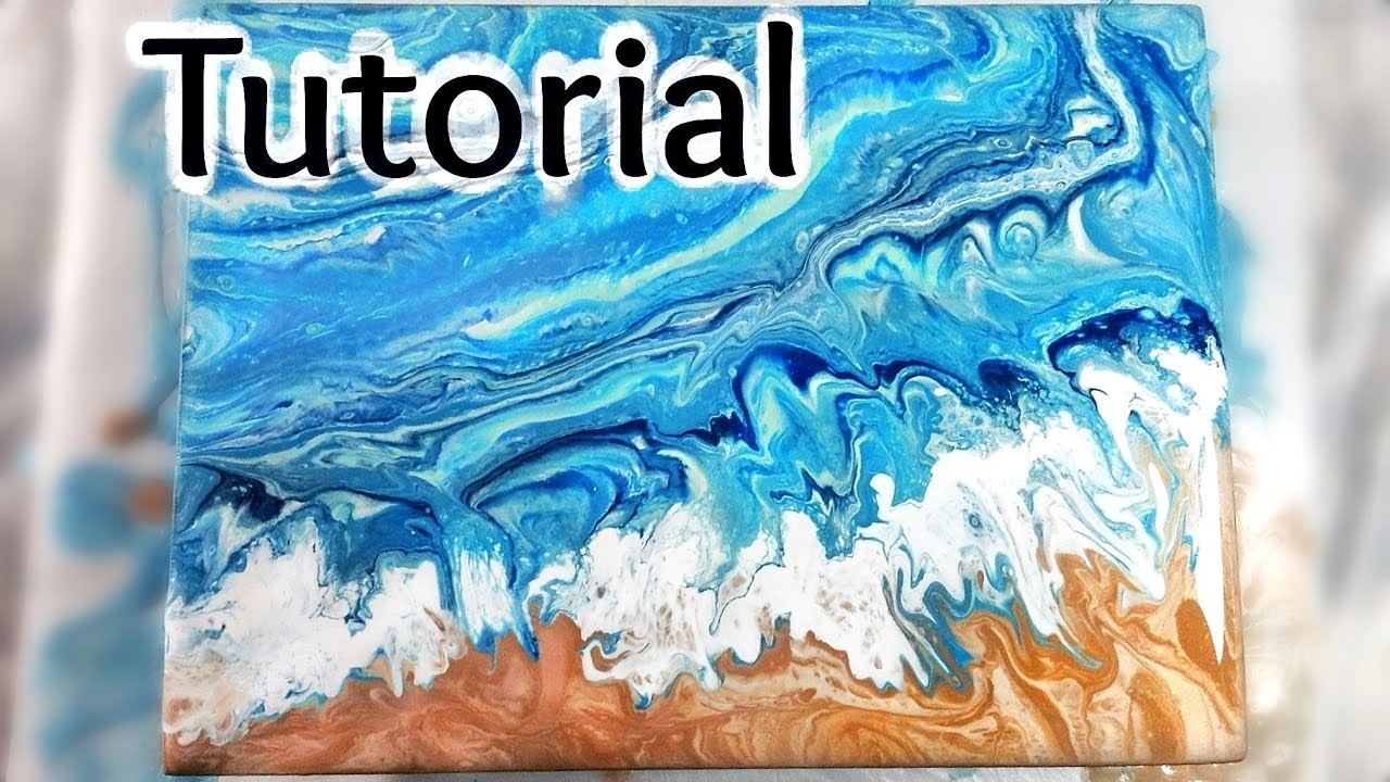 7 How To Paint Ocean Waves And A Beach In A Dirty Pour