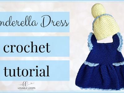 Cinderella Princess Dress Crochet Pattern Tutorial Video | Cinderella Dress for Baby | Baby Crochet