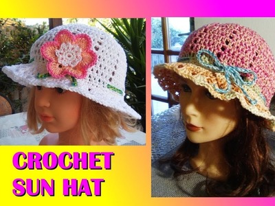 CROCHET SUN HAT ANY SIZE TUTORIAL