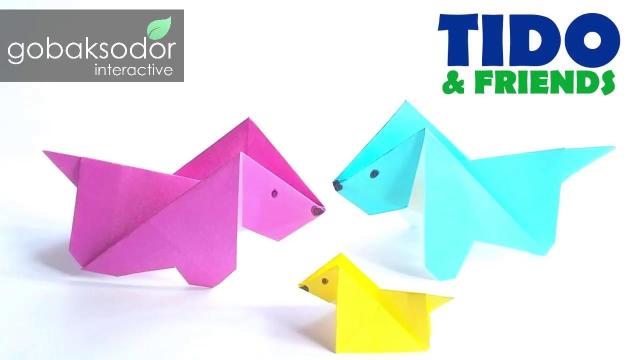 Cute Dog Origami Tutorial Easy For Kids Diy Paper Crafts Cara