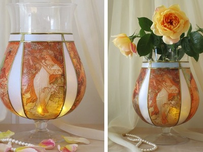 DIY Flower Glass Vase Decoupage Tutorial