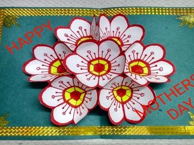 DIY - FLOWER POP UP CARD PAPER CRAFTS || MOTHER DAY CRAFTS || TUTORIAL POP UP CARD  MOTHERS DAY.