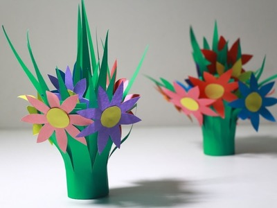 DIY Home Decor Ideas | How To Make Grass Paper Flower From Color Paper
