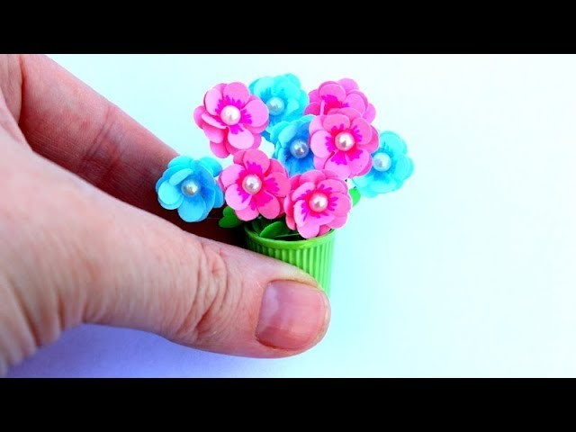 DIY Miniature Flowers in a pot Doll