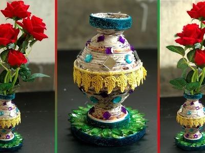 DIY Newspaper Craft | How To Make Flower Vase out waste newspaper | Newspaper Flower Vase