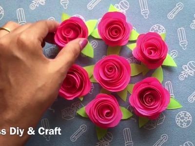 DIY Paper Rose Flower| how to make paper rose | red rose - ( MASS Crafts)