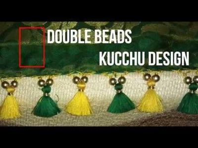 DOUBLE BEAD SAREE KUCHU DESIGN  How to make Double bead Saree Kuchu Design