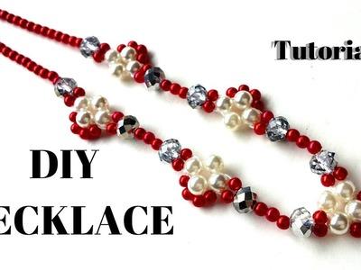 Easy diy beading pearl necklace tutorial . Red color necklace. DIY handmade necklace