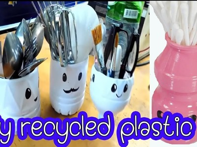 Easy home l 4 Ideas with Plastic Bottles l 4 diy kawaii  recycled with Plastic Bottles