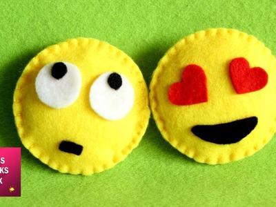 Emoji Felt Crafts - DIY :  How to make miniature felt emoji. Felt Crafts - Kids Crafts.